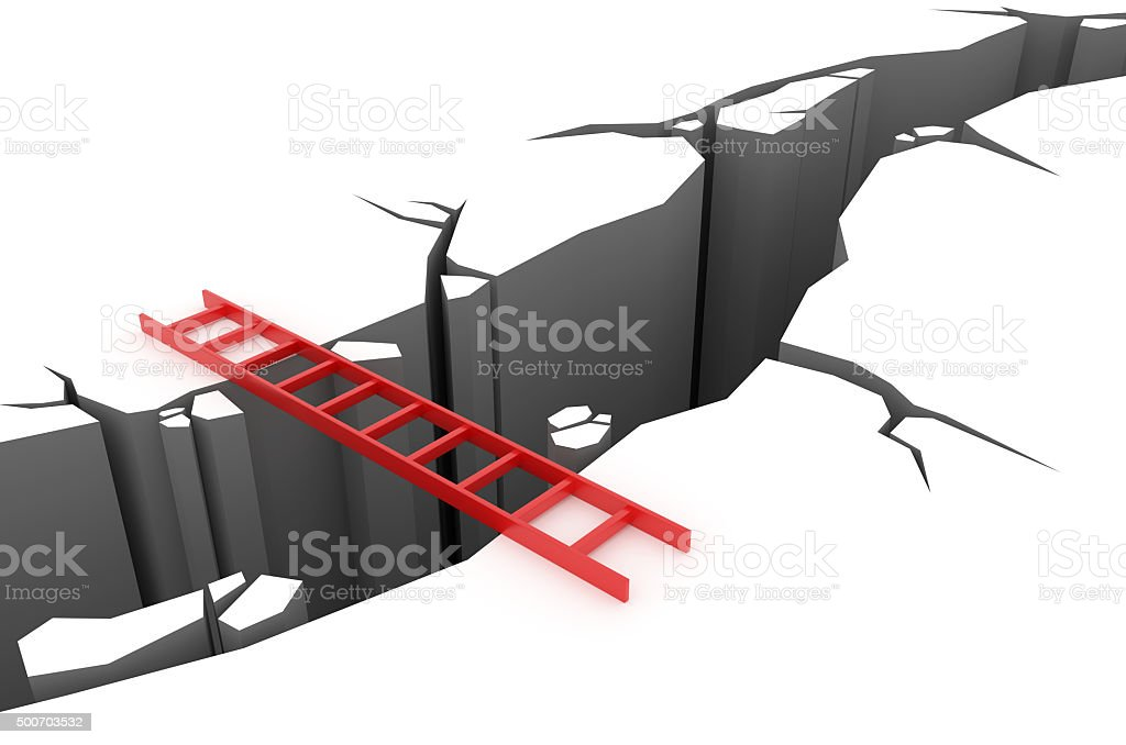 Red ladder over a pit stock photo