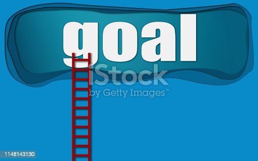 931227282istockphoto Red ladder to goal word 1148143130