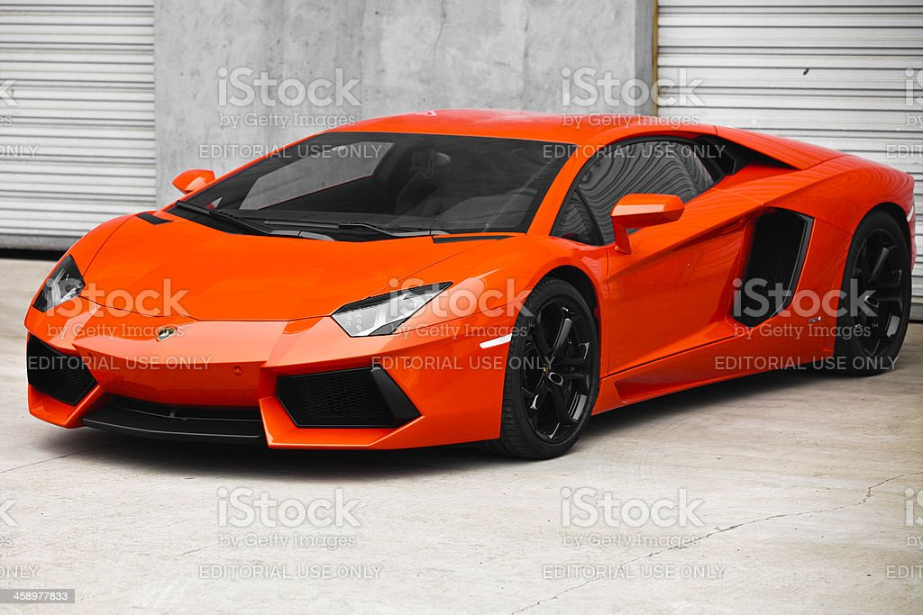 red lamborghini aventador stock photo