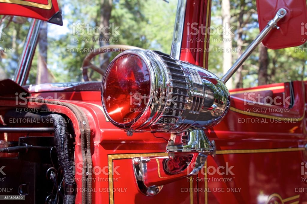 Red lamp from a 1949 Mack pumper fire truck stock photo