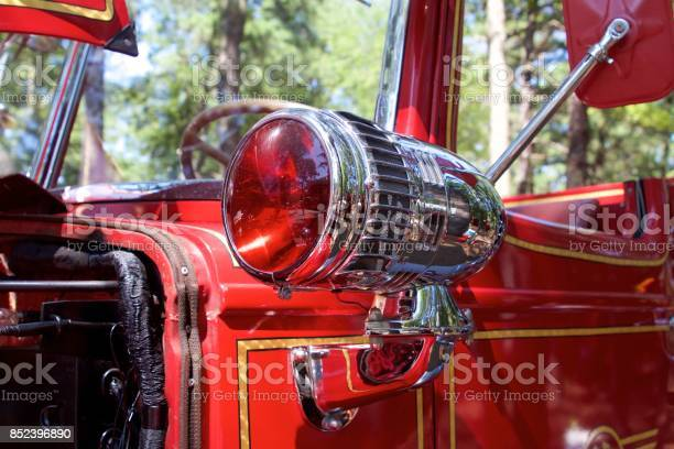 Red lamp from a 1949 Mack pumper fire truck