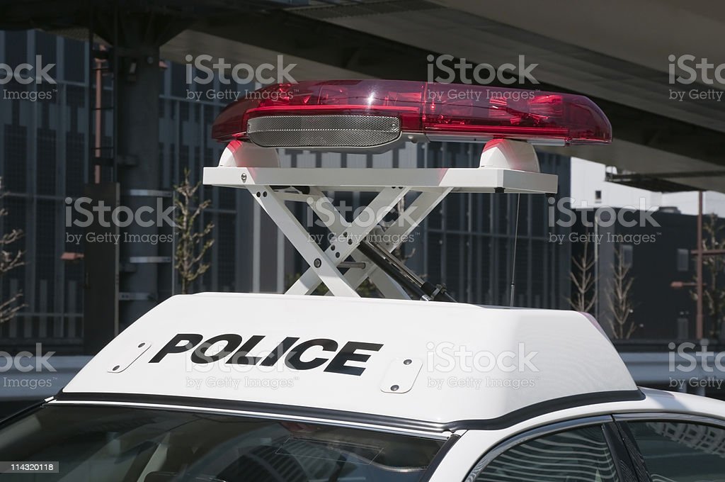 Red lamp on a police car stock photo