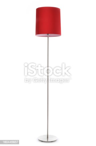 Red lamp isolated on a white background.