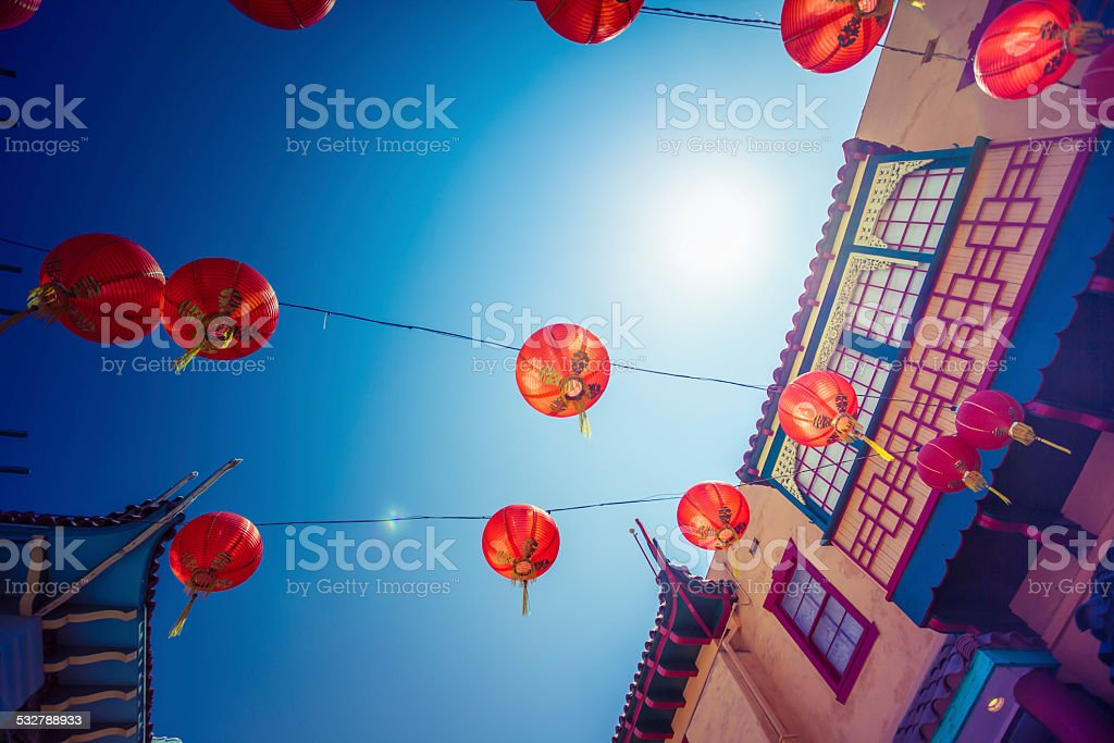 Red Lantern decorations in China Town in Downtown Los Angeles stock photo