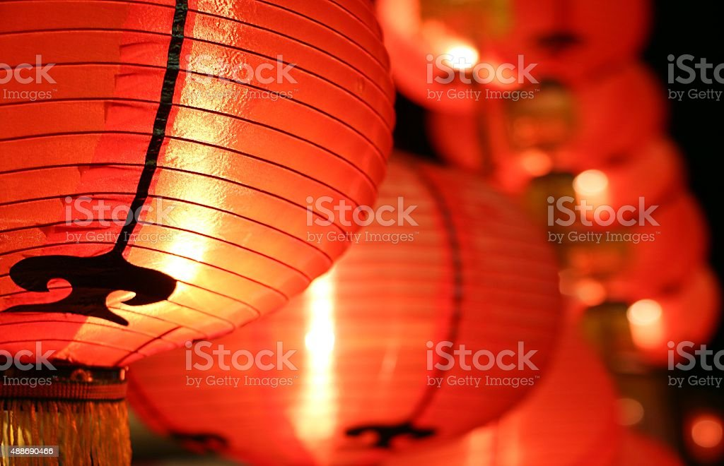 Red lanterns ( Tang Lung ) - Chinese New Year decorations stock photo