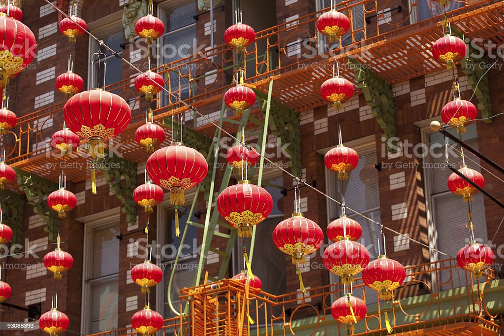Red lanterns hanging in Chinatown stock photo