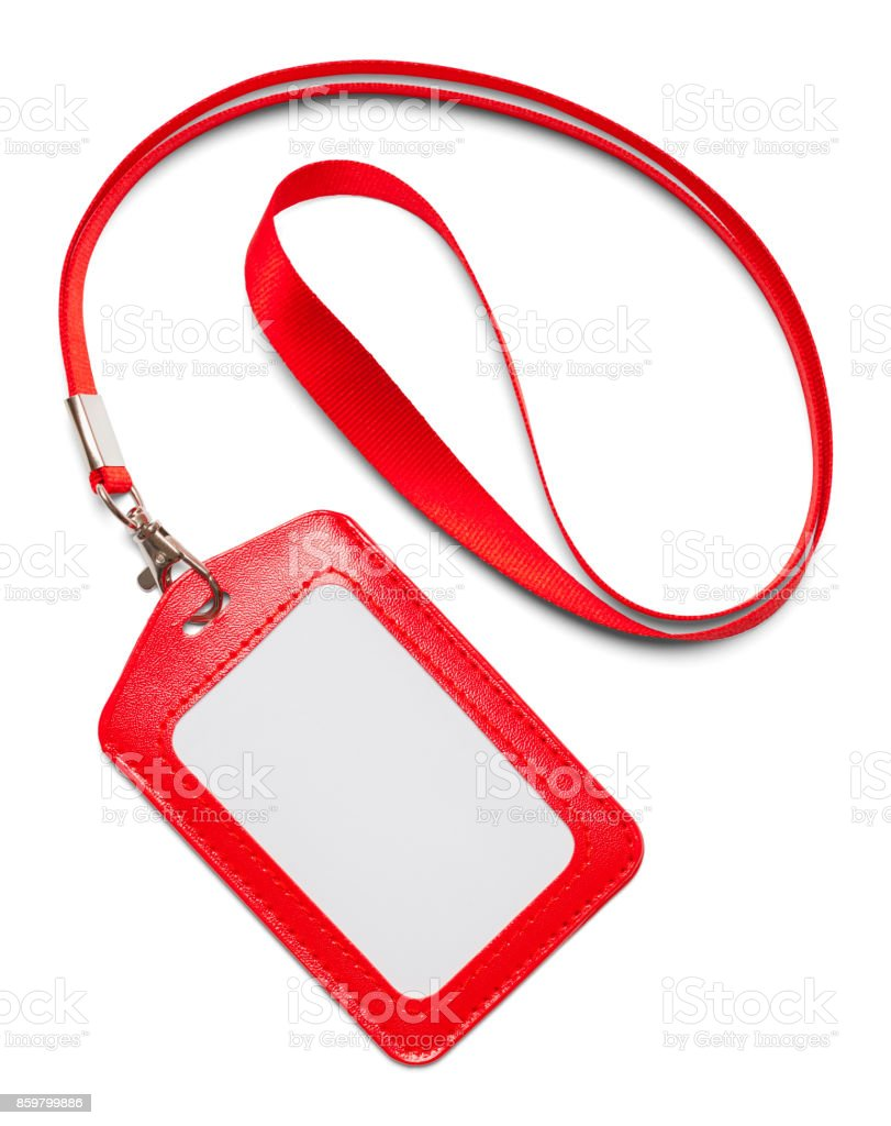 Red Lanyard Curled stock photo