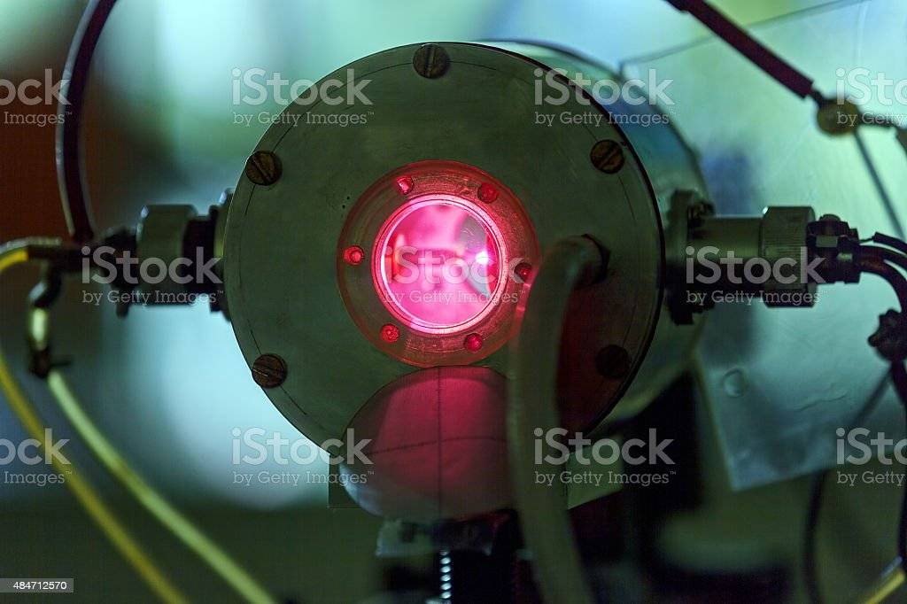 Red laser in laboratory stock photo