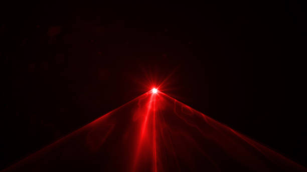 Red Laser Light On Black Background Red laser light on black background. Horizontal composition. laser stock pictures, royalty-free photos & images