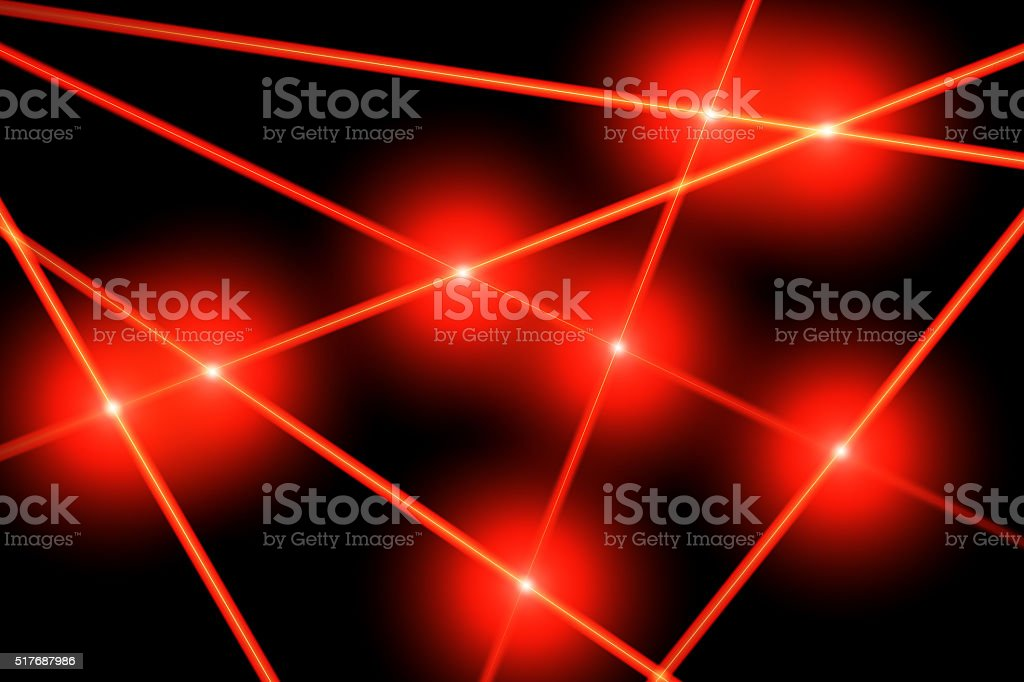 Red laser rays stock photo