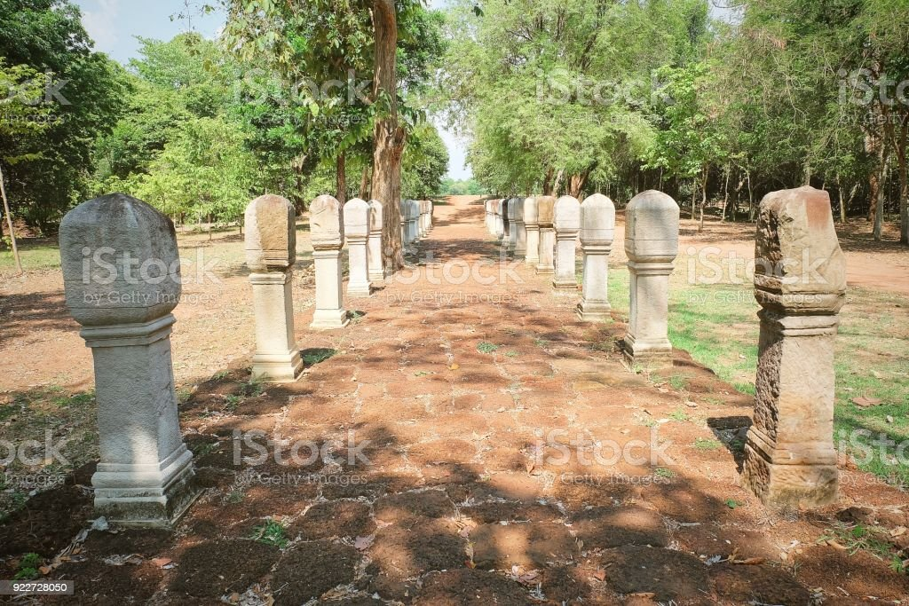 Red Laterite Brick Path in The Historical Park stock photo