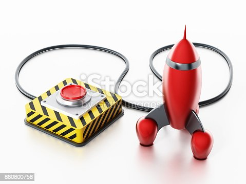 istock Red launch button connected to red vintage rocket 860800758