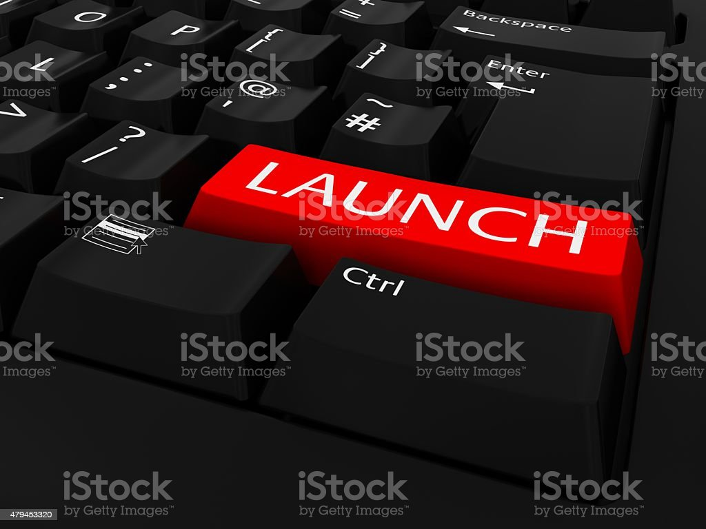Red Launch Button On Black Keyboard Stock Photo - Download