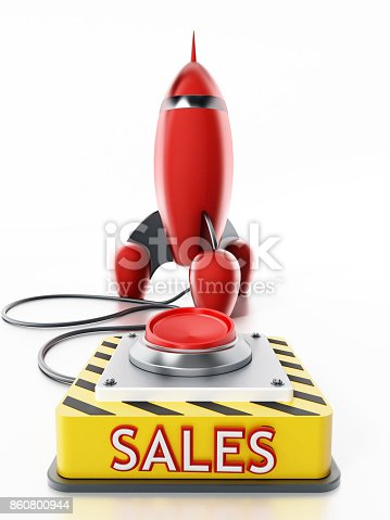 istock Red launch button with sales text connected to red vintage rocket 860800944