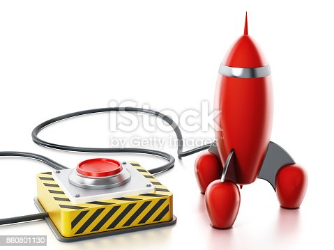 istock Red launch button with sales text connected to red vintage rocket 860801130