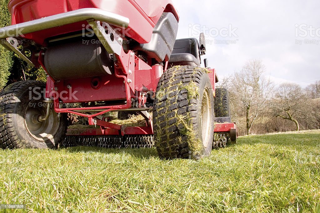 Red Lawn Mower stock photo