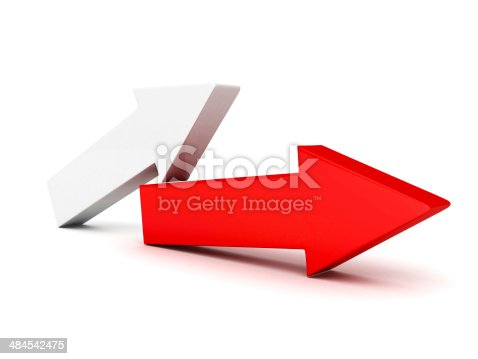935214858istockphoto red leader arrow on white background 484542475