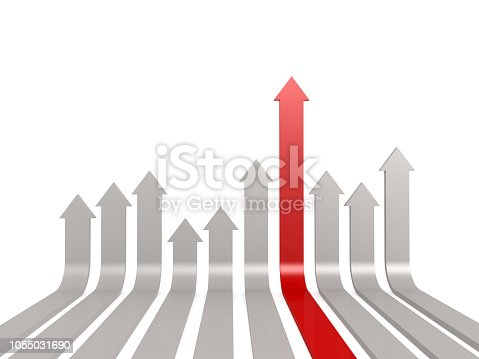 1014851396 istock photo Red leading arrow in the middle 1055031690