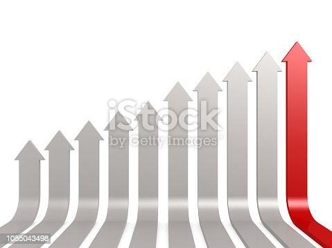 1014851396 istock photo Red leading arrow 1055043498