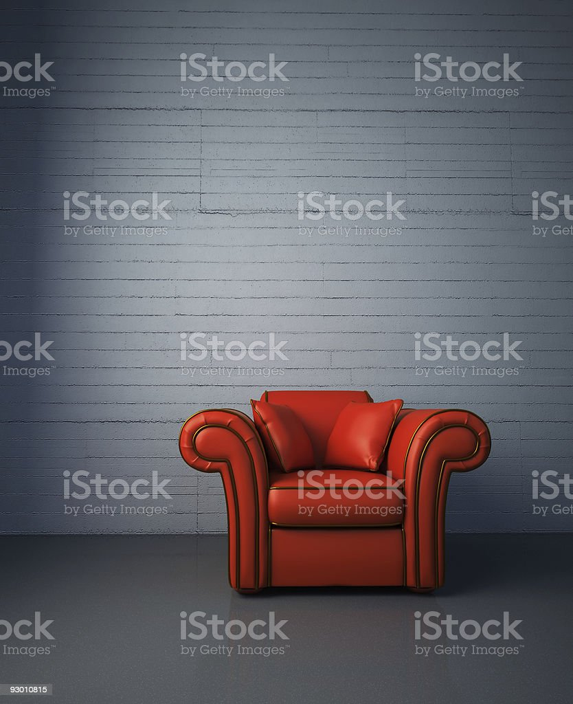 Red leather armchair royalty-free stock photo