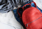 istock Red leather backpack 1126864625