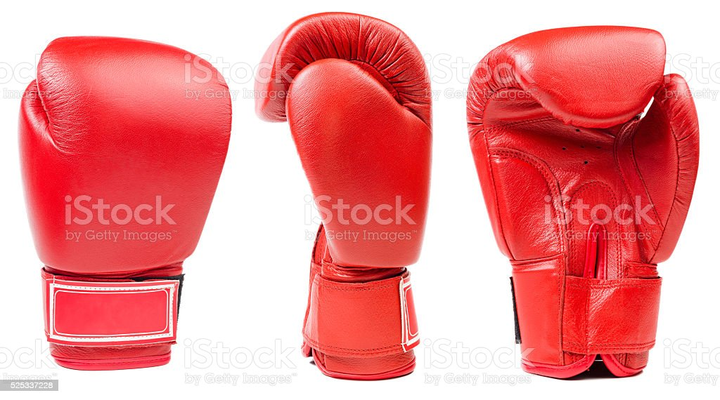 Red leather boxing glove isolated stock photo