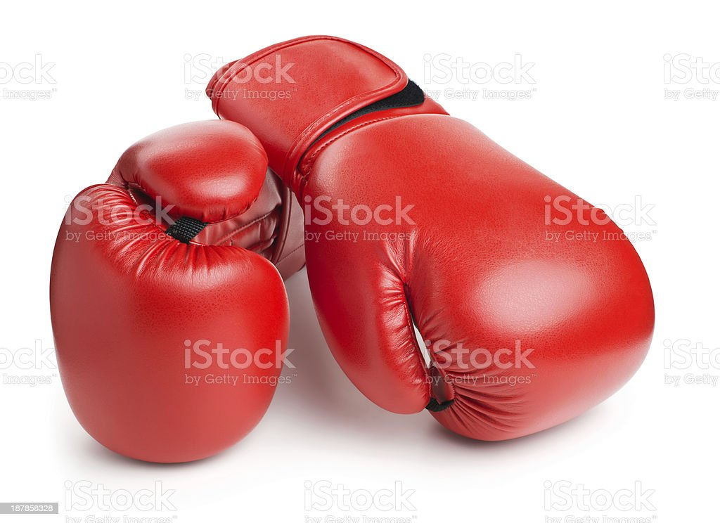 red leather boxing gloves isolated on white stock photo