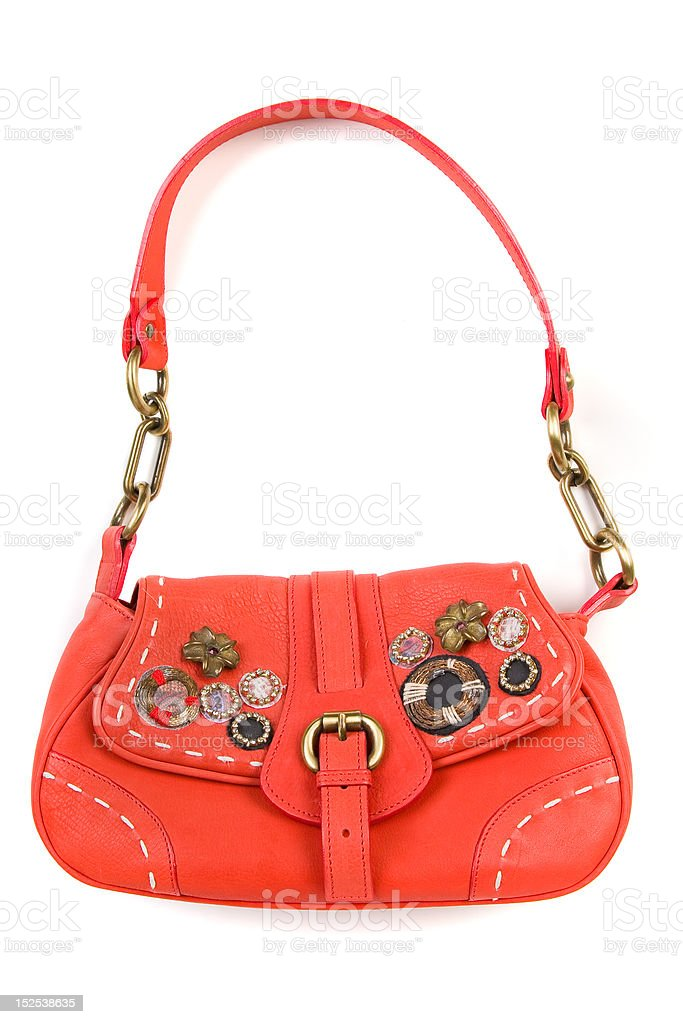 Red leather female bag, isolated on white royalty-free stock photo