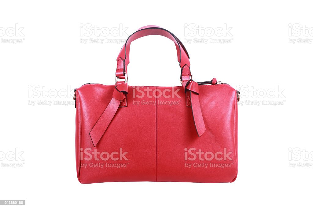 red leather handbag isolated on white stock photo