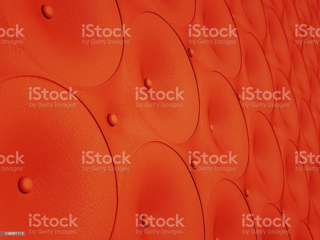 Red leather pattern with circles and buttons royalty-free stock photo