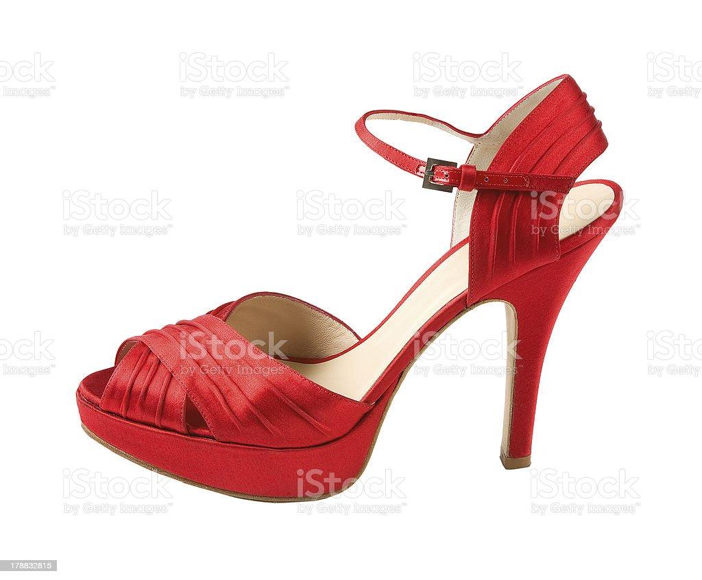 7623f0db Zapato abierto por delante stilettos cuero rojo foto de stock libre de  derechos