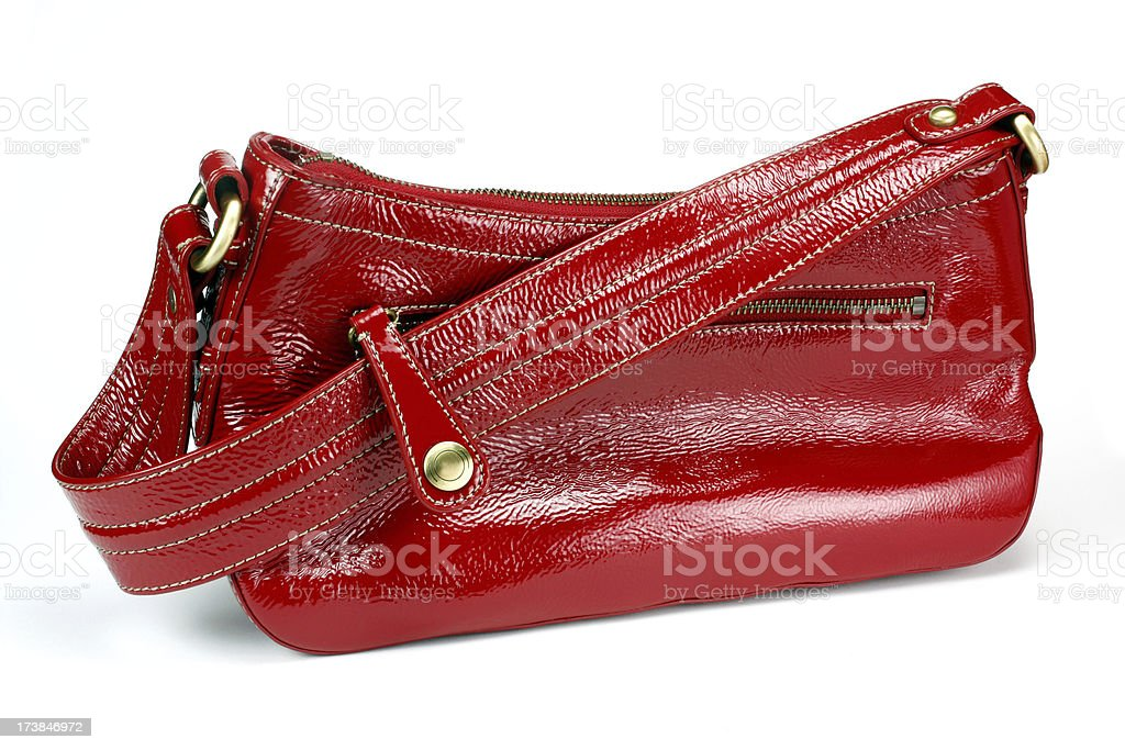Red Leather Purse With strap Isolated on white stock photo
