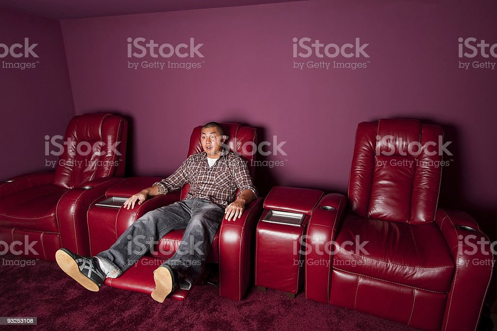 Red Leather Recliner Man Suprised stock photo