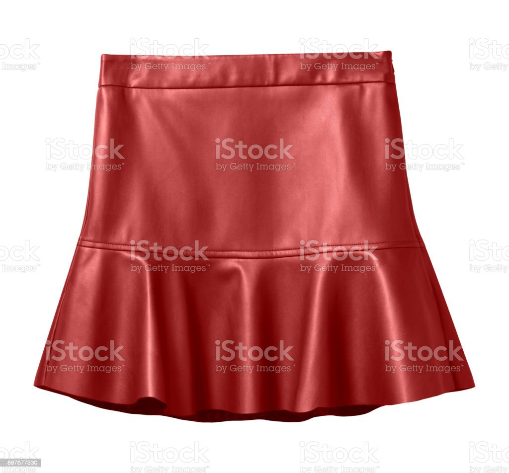 Red leather skirt with flounce isolated on white stock photo