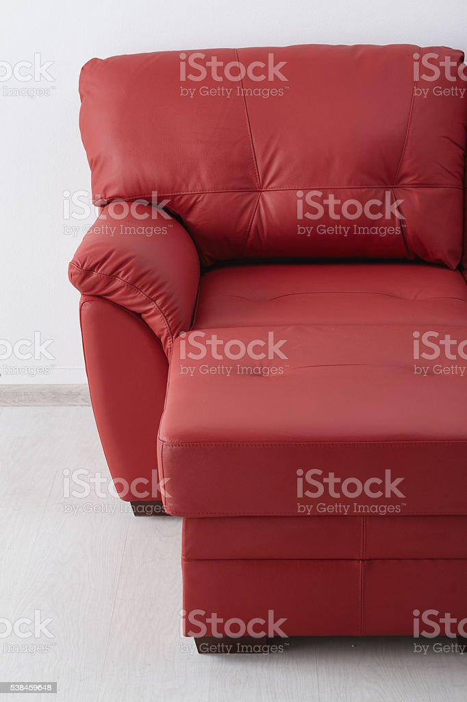 Picture of: Red Leather Sofa Against The Wall Stock Photo Download Image Now Istock