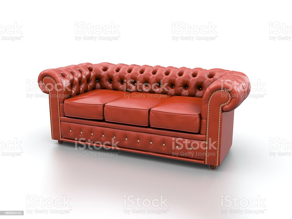 Red leather sofa. stock photo
