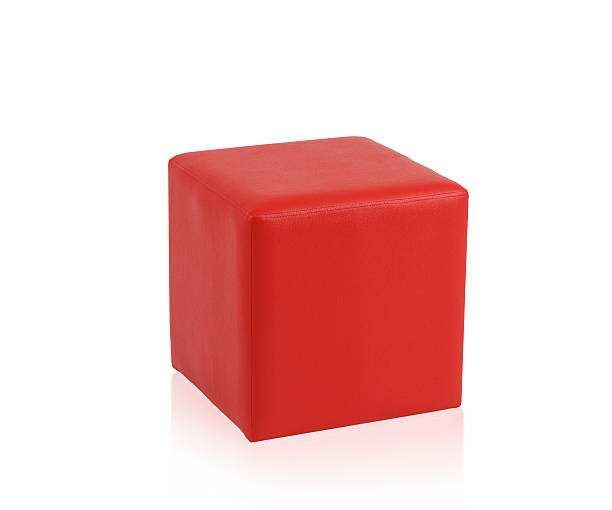 Red leather stool stock photo