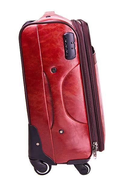 red leather suitcase - trolley kaufen stock-fotos und bilder