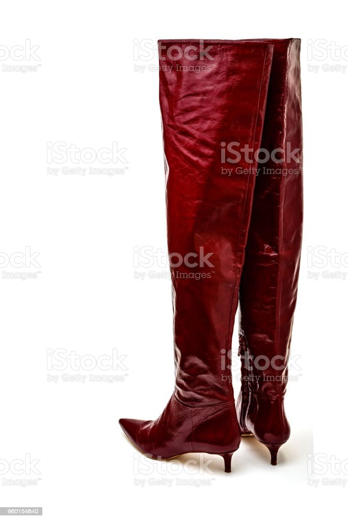 aa4d0e7e797 Red Leather Thigh High Kitten Heel Boots Stock Photo - Download ...
