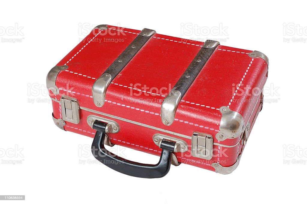 Red leather vintage old suitcase stock photo