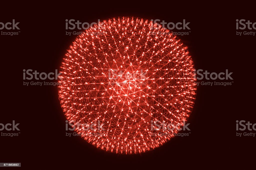 Red LED Ball Simulation of Nucleus of Atom science abstract concept. stock photo