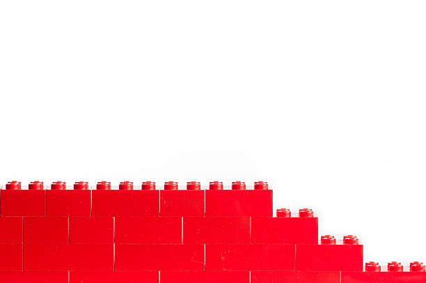 red lego blocks with copy space - lego stockfoto's en -beelden