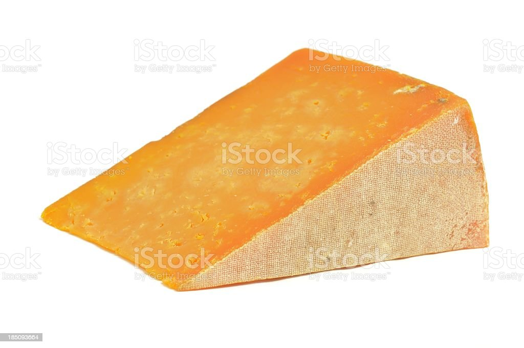 Red Leicester cheese slice royalty-free stock photo