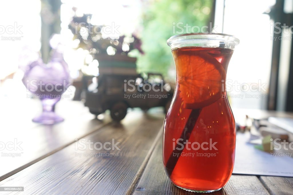 Red lemonade at cafe royalty-free stock photo