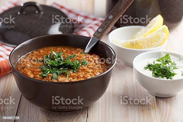 Red Lentil Soup And Greek Yogurt Stock Photo - Download Image Now