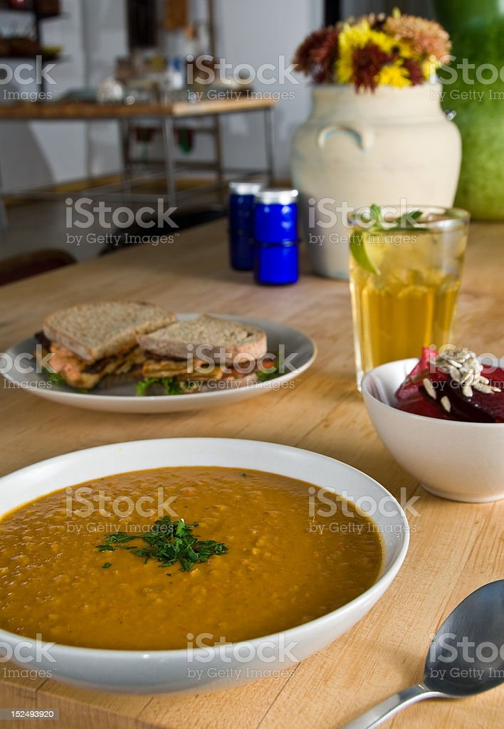 Red lentil soup royalty-free stock photo