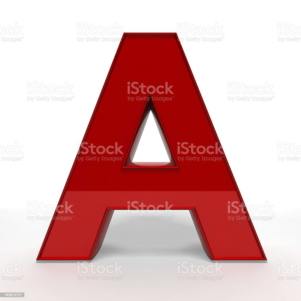 Red letter A royalty-free stock photo