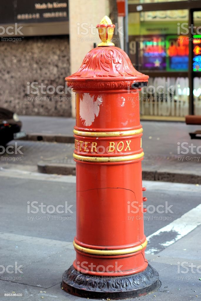 Red letter box in city Sydney Australia stock photo