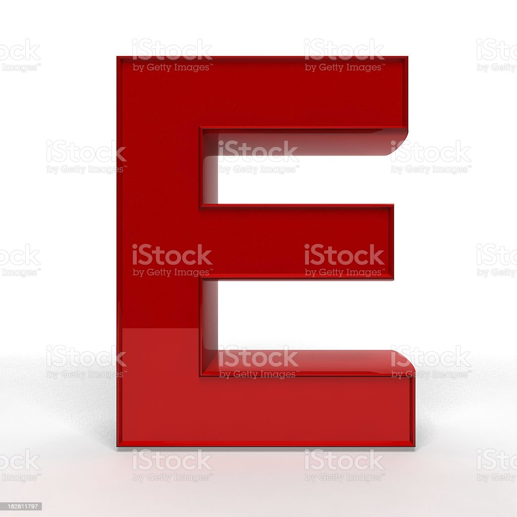 Red letter E stock photo