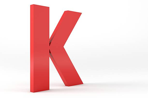 3D Red Letter K 3D Red Letter K Isolated White Background  k icon stock pictures, royalty-free photos & images